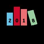 Das BuchBlog-Award-Logo zeigt vier Buchrücken, die zusammen die Jahreszahl 2018 ergeben.