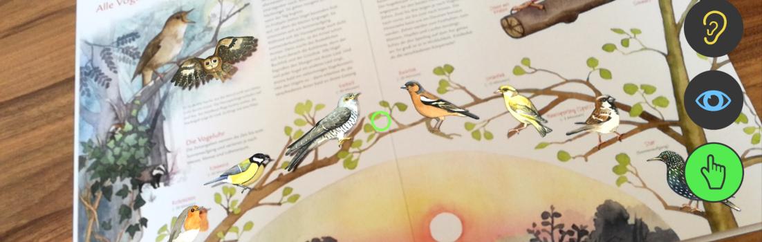 Eine gescannte Kinderbuchseite mit Vögeln: Alle Vögel sind schon da.