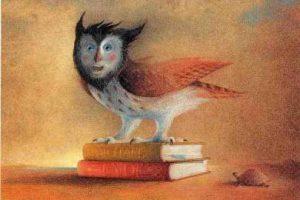 Illustration: Eine Eule mit den Gesichtszügen Michael Endes steht auf zwei Büchern.