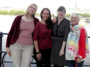 Zu sehen ist das Orgateam, bestehend aus vier Frauen: Martha Wilhelm, Sonja Hoge, Nadine Wedel und Trudy Stange-Motzkau