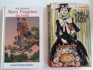 """Buchcover von P.L. Travers Büchern """"Mary Poppins im Park"""" und """"Mary Poppins kommt wieder"""""""