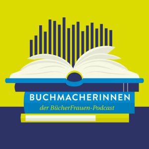 Neues Podcast-Logo Buchmacherinnen mit einem Stapel Bücher und einer Audiowelle.